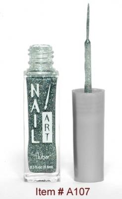 Silver Green Glitter A107